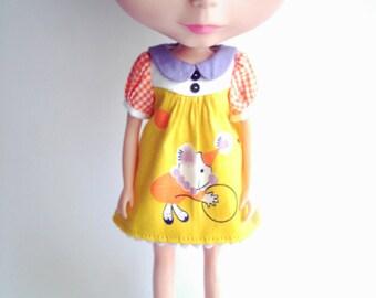 RESERVED for Miguel---- Orange Clown dress for Blythe