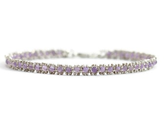 Amethyst Anklet - Silver Chain Ankle Bracelet - Foot Jewelry - Karen Hill Tribe Silver Anklet - Beadwork Gemstone Jewelry