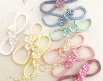 Dainty Flower Headband - Blossom Headband - Small headband - baby headband -  newborn headband - baby hairband - soft headband