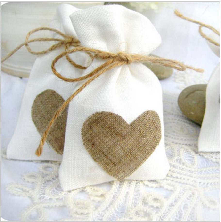 JUTE HESSIAN bags - wedding favor small jute gift bag 9cmx14cm ...