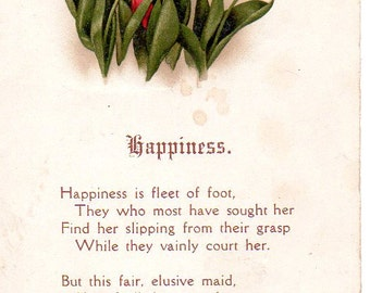 VINTAGE  POSTCARD, Happiness, sourced by junqueTrunque.