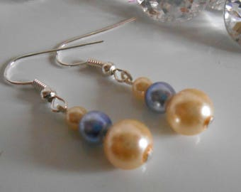 Wedding earrings authentic yellow and lavender beads