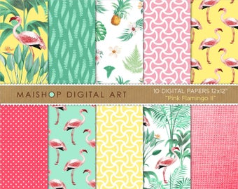 Papier numérique tropical « Pink Flamingo II » Scrapbook Floral fonds pour Scrapbooking, faire-part, Stickers, serviettage, cartes...