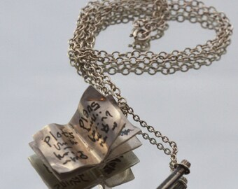 Personalised diary book pendant with pencil for thoughts