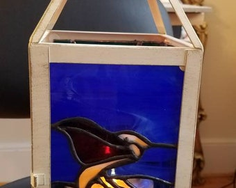 Stained glass lantern -marine life