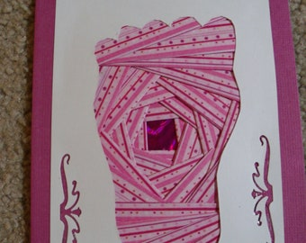 It's a Girl - Baby's Foot  Iris Folded Card  Blank Inside