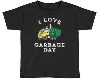 I Love Garbage Day Kids T-Shirt - - garbage truck shirt - Kids Truck Shirt - Girls Truck Shirt- Boys Garbage Truck Shirt