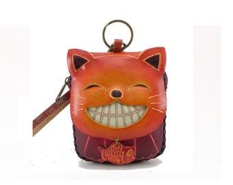 cat/wristlet/coin purse/leather