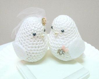 Cake Topper - Wedding Cake Topper - Love Birds Cake Topper - White Bird Cake Topper - Dove Cake Topper - Crochet Cake Topper - Wedding Cake