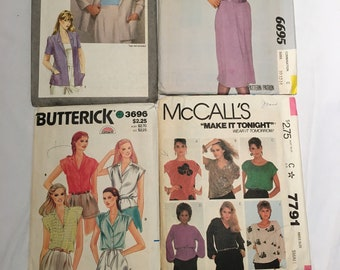 Vintage Sewing Patterns 1980's - Four (4) Patterns