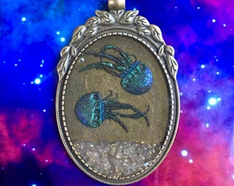 Blue Iridescent Jellyfish Necklace