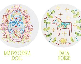 Embroidery Pattern Set Dala Horse and Matryoshka Doll PDF