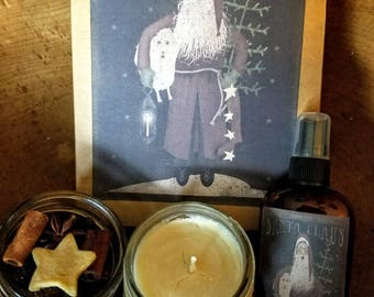 Holiday Gift Box ~ Hand Poured Soy wax candle~ Room Spray ~ Rose HIp Potpourri