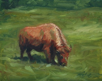 Golden Gate Buffalo, oil painting on canvas
