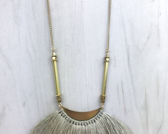 Brass & Taupe Tassel Fringe Necklace