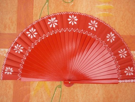 Nordic Red Christmas Hand Fan SIZE OPTIONS Folding Fancy Fashion Fan Red SNOWFLAKE Wintery Winter Sun