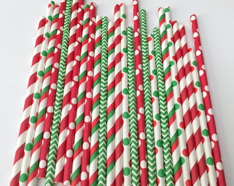 CHRISTMAS STRAWS/Red, White, Green Straws/ Merry Christmas Straws/ Holiday Straws/ Drinking Straws/ Party Straws/ Paper Straws