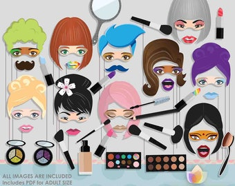 Makeup Artist Beauty Photo Booth Props