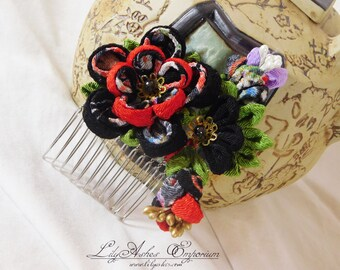 Tsumami Kanzashi Chirimen Flower Hair Comb Black Red Green Purple Print with Leaves and Buds