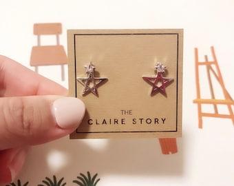 Double star Stud Earrings/ Star Earrings/ Sterling Silver pin Earrings/Studs/