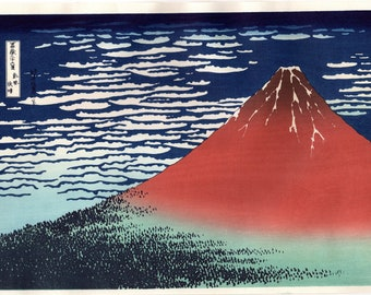 "Japanese Ukiyo-e Woodblock print, Hokusai, ""View on a fine breezy day"""