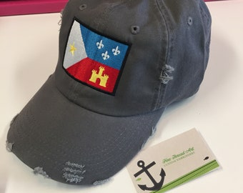 Ready to Ship Adult Acadian Flag Baseball Hat Cap Distressed Charcoal Grey Gray Louisiana Cajun South Lafayette