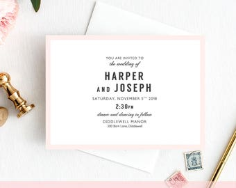 Elegant Wedding Invitation Template Printable, Harper Invitation Template any colours, Minimalist Wedding, Edit in WORD or PAGES