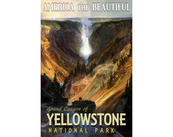 Grand Canyon of YELLOWSTONE New Original Retro Travel Poster National Park Wyoming  Waterfall Art Print 139