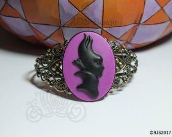 Victorian Cameo Cuff Bracelet Maleficent Sleeping Beauty Disney Villain Purple Valentines Edition