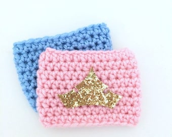 Sleeping Beauty Aurora Princess Crown Gold Glitter Briar Rose Coffee Sleeve Drink Crochet Cozy Cozies