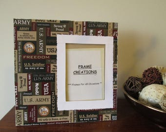 5x7 Army Themed - Hand Decorated Picture Frame
