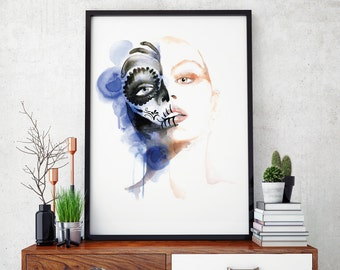 Fashion Illustration, mexican sugar skull, wall art, art print, watercolor illustration painting ANY SIZE! A4, A3, A2 A perfect Gift!