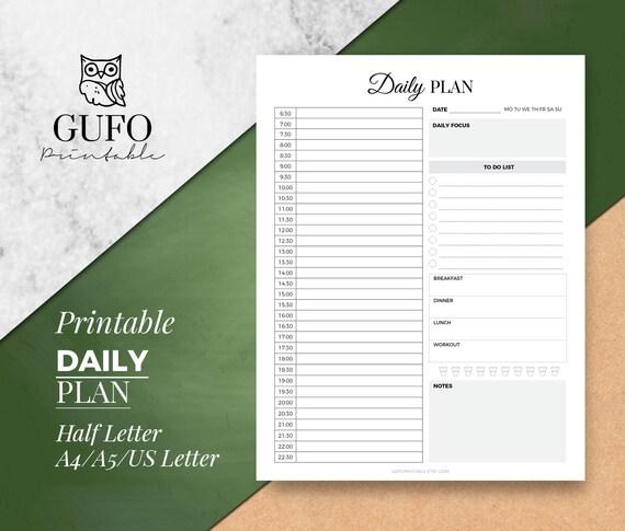 Stündliche Planner druckbare: Tagesplan A5/A4/Letter