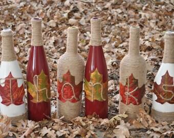 Thanks Wine Bottles - Give Thanks Wine Bottles - Thanksgiving Center Piece - Thanksgiving Wine Bottles - Fall Centerpiece