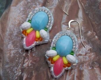 Pastel Rainbow Statement Earrings; Blue Resin Earrings; Marie Antoinette Earrings; Pastel Blue Earrings; Baroque Earrings;