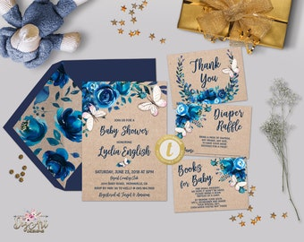 Printable Navy Blue Floral Baby Shower Invitation Template Set Editable Rustic Boho Butterfly Boy Baby Shower Invite Baby Boy Card  TEMPLETT