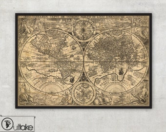 HUGE antique wall map of the World (1594) - Mercator projection - LARGE wall map - Old World Map - Vintage wall map - Outtakeprints ,002