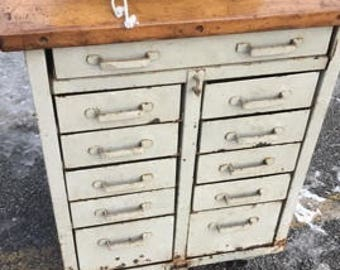 Wood & Metal Cabinet; Kitchen Island on Wheels; Dry Bar; Vintage Industrial; Factory Salvage; Antique Metal Drawers; Masculine Organization