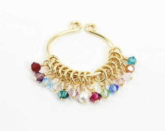 SMALL CRYSTAL CHARM small gold filled swarovski crystal charm birthstone 3mm or 4mm crystal or pearl with gold filled