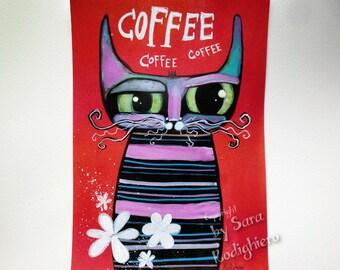 Funny kitchen decor,Coffee Art,cat decor original pop art,5.8 x 8.2 in