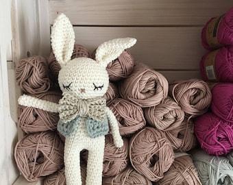 crochet amigurumi Bunny,bunny with bow tie, toy newborn gift, newborn bunny gift, child gift, newborn birth gift,newborn shower gift,newborn