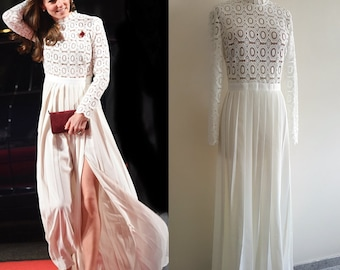 Kate Middleton/ Self Portrait Inspired Dress/ Maxi dress/ Lace gown/ long sleeve gown/ wedding dress/ Duchess of cambridge/Premium lace