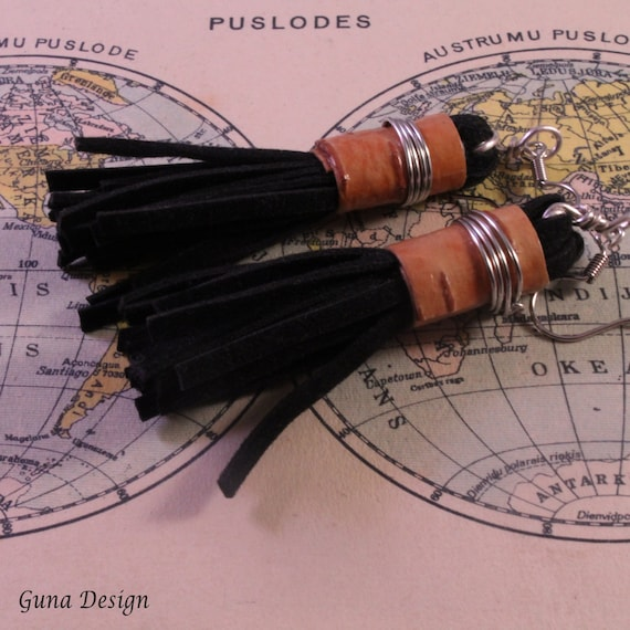 Eco Earrings from Birch Bark and Black Suede Tassel Earrings
