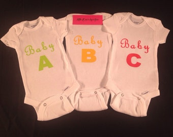 Twins a and b onesie etsy baby a baby b baby c triplets unisex baby oneies for boy or girl cute customized negle Image collections