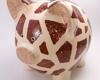 Giraffe Piggy Bank - Personalized Piggy Bank - Jungle Theme Bank - Safari Piggy Bank - Baby Nursery Gift - with hole or NO hole in bottom