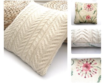Hand knitted Wool Cushion / Pillow Throw . Cream natural home decor , Aran cable knit design & pretty flowery linen , zip fastening