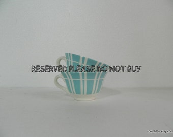 Reserved. Digoin, cafe cups, 2 tea, coffee cups, 50s, white and aqua blue.