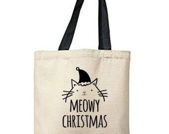 Meowy Christmas Bag, Natural Tote, Funny Tote Bag, Christmas Bag, Canvas Tote Bag