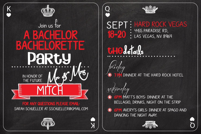 Vegas Casino themed Bachelor Bachelorette Party Invitation.