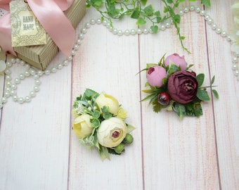 Ivory hair clip, Burgundy pink hair clip, Flower hair clip, Girl headpiece, Flower girl hair clip, Hair clip flower, Flower hair piece ivory